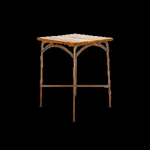 Tavolo bar con top in legno di teak recuperato dalle vecchie barche e gambe in ferro