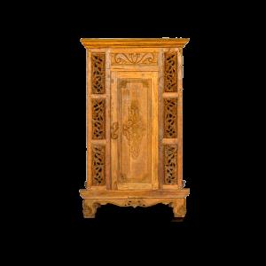 Credenza / Armadio alto in legno di teak con dettagli laterali