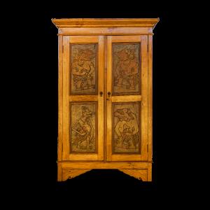 Credenza / Armadio in legno di teak con ante con intagli marionette del