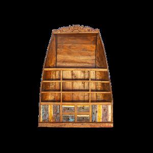 Libreria recuperata da antica barca indonesiana in legno di teak