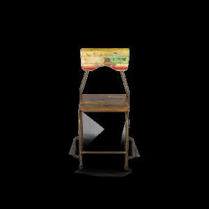 Sedia con seduta e schienale in legno di teak recuperato