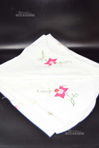 Tablecloth Hand Embroidered White Diameter 150 Cm Made In Italy The
