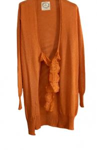 Cardigan lungo donna | cotone e viscosa | arancione | nastro in pizzo | Made in Italy