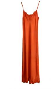 Abito donna lungo sottoveste |colore arancio | viscosa | Made in Italy