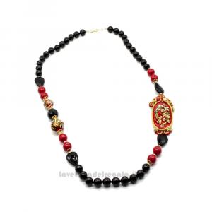 Collana in soutache nera con pietre dure di onice e sfere in ceramica di Caltagirone - Gioielli Siciliani