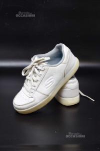 Scarpe Bambino Skechers Bianche Con Ricarica Per Led N.35