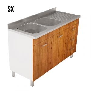 LAVELLO INOX CON MOBILE A CASSETTI E PIEDINI MOD. PRATIKA              cm. 120 x 50 Teak vasche Dx