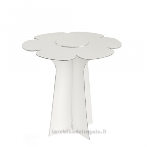 Alzata Bianca a forma di fiore in cartoncino 30x29 cm - Espositore per bomboniere