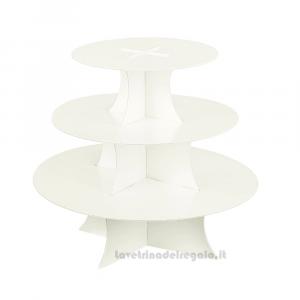 Alzata Bianco perlato a 3 piani in cartoncino 33x29 cm - Espositore per bomboniere