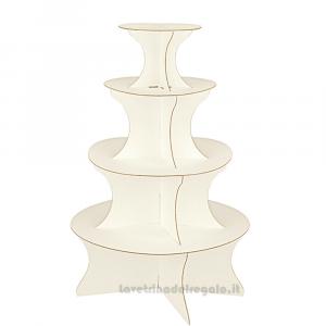 Alzata Seta Bianco a 4 piani in cartoncino 63x100 cm - Espositore per bomboniere