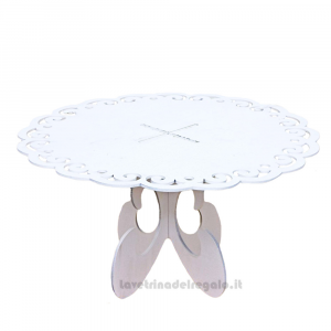 Alzata Bianca in legno 30x15 cm - Espositore per bomboniere