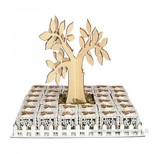 Albero della Vita con 32 scatoline in legno 38x38x31 cm - Torta bomboniere