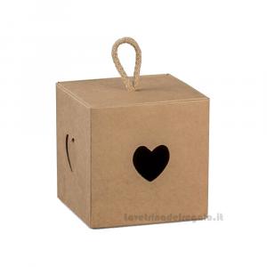 Portaconfetti Avana con cuore e cordoncino Varie Dimensioni - Scatole bomboniere