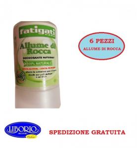 6 Pezzi Allume Di Rocca Stick deodorante 100% naturale FATIGATI 120 gr.