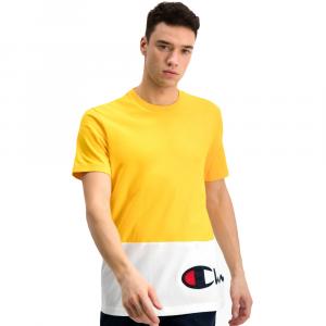 Champion T-Shirt Con Scritta Gialla Bianca da Uomo