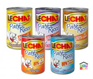 Le Chat patè pollo e fegatini,tonno al naturale, vitello, prosciutto e lepre, orata e pesce bianco  0,400g