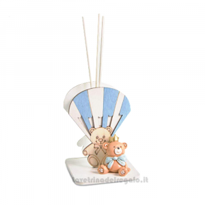 Profumatore Mongolfiera Celeste con orsetto in resina 9 cm H - Bomboniera battesimo bimbo