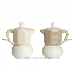 Zuccheriera con Tazzina a forma di caffettiera in porcellana 15 cm - Idee Regalo