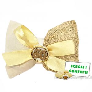 Portaconfetti Oro con numero 50° Anniversario 11.5x7.5 cm - Sacchetti nozze d'oro