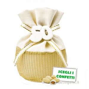 Portaconfetti palla Oro con numero 50° Anniversario 10 cm - Sacchetti nozze d'oro