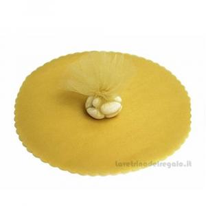 50 pz - Velo portaconfetti Oro rotondo in organza smerlato 24 cm - Veli nozze d'oro