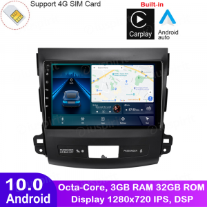 ANDROID 10 autoradio navigatore per Mitsubishi Outlander Citroen C-Cross Peugeot 4007 2006-1012 Car Play Android Auto GPS USB WI-FI Bluetooth 4G LTE
