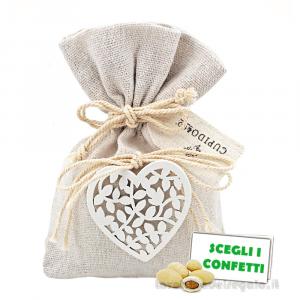 Portaconfetti Avorio con Cuore in legno 10x13.5 cm - Sacchetti matrimonio