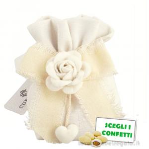 Portaconfetti con Rosa bianca in vellutino 6x6x11 cm - Sacchetti matrimonio
