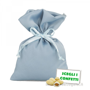 Portaconfetti piatto Celeste scuro in taffettà 10x14 cm - Sacchetti matrimonio