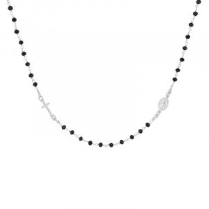 Collana rosario a girocollo in argento e onice mis. S