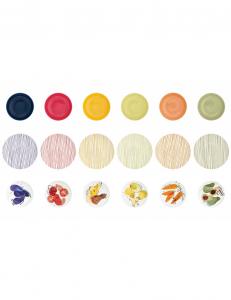 Brandani servizio 18 piatti colorati e decorati allegra combriccola