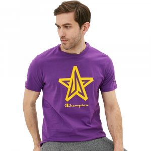 Champion T-Shirt Star con Logo Viola da Uomo