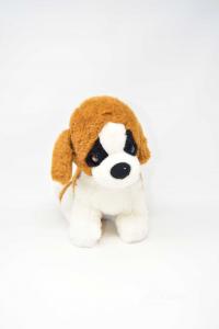 Stuffed Animal Dog White Brown Height 25 Cm