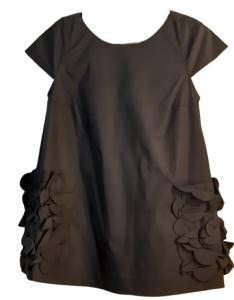 Casacca donna nera   tasche e fiori applicati   cotone  Made in italy