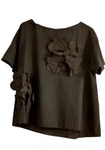 Maglia donna nera| bottoni sul retro| fiori applicati | Made in Italy