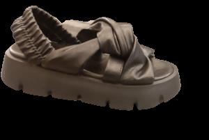 Sandalo donna in pelle nera | suola alta | elastico sul retro | Made in Italy