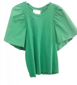 Maglia donna verde | manica cotone e corpo in maglina | Made in Italy