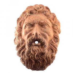 Mascherone volto maschile da parete in marmo Rosso Verona per fontana
