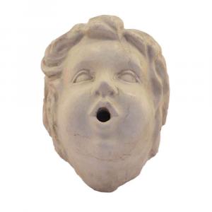 Testa di putto in marmo Botticino scolpito a mano per fontana