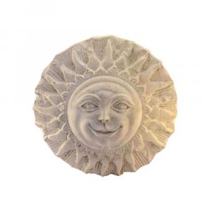 Sole ornamentale da parete in marmo Botticino scolpito a mano