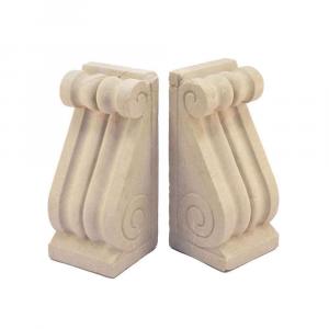 Coppia di reggilibri da ripiano in marmo Botticino scolpito a mano