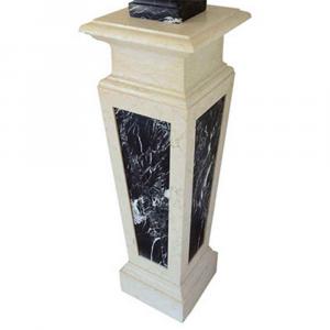 Basamento scultura in marmo Biancone Asiago e Nero Marquinia lavorato a mano