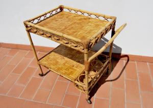 Carrello bar vintage in bambù e vimini