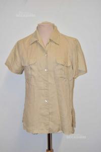 Camicia Donna Color Panna In Lino Blunauta Tg 44