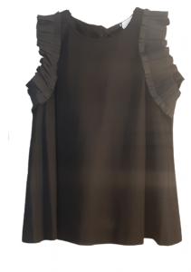 Maglia donna nera| maglina cotone| volant sulla spalla|Made in Italy