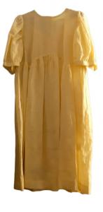Abito donna midi  lino giallo  tasca laterale  Made in Italy
