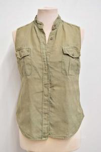 Camicia Donna Calvin Klein Verde Militare In 100 % Lino Tg S/m
