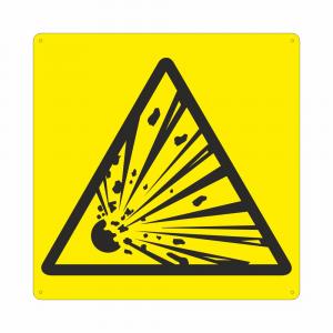 Cartello con simbolo Pericolo materiale esplosivo