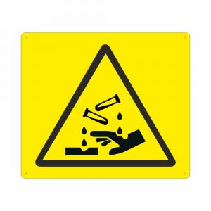 Cartello con simbolo W023 pericolo materiale corrosivo