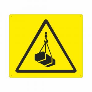 Cartello con simbolo W015 pericolo carichi sospesi